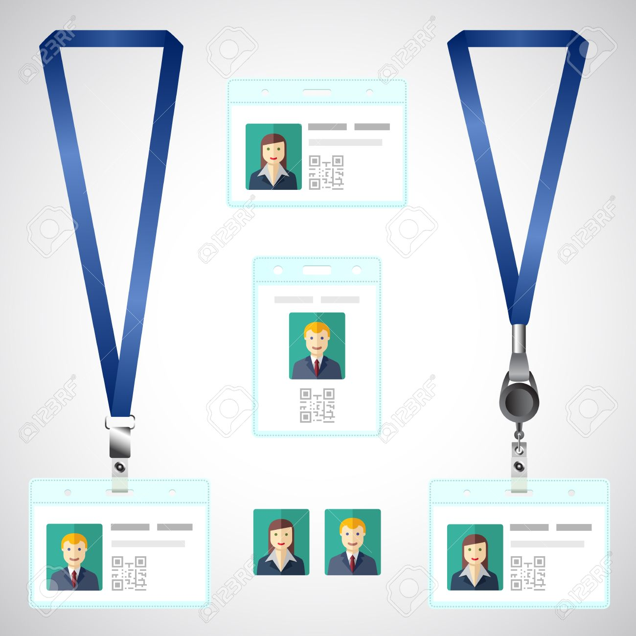 Lanyard Name Tag Holder End Badge Id Template Royalty Free - Free lanyard template