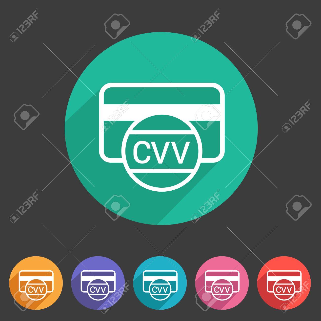CVV card security code credit card icon flat web sign symbol