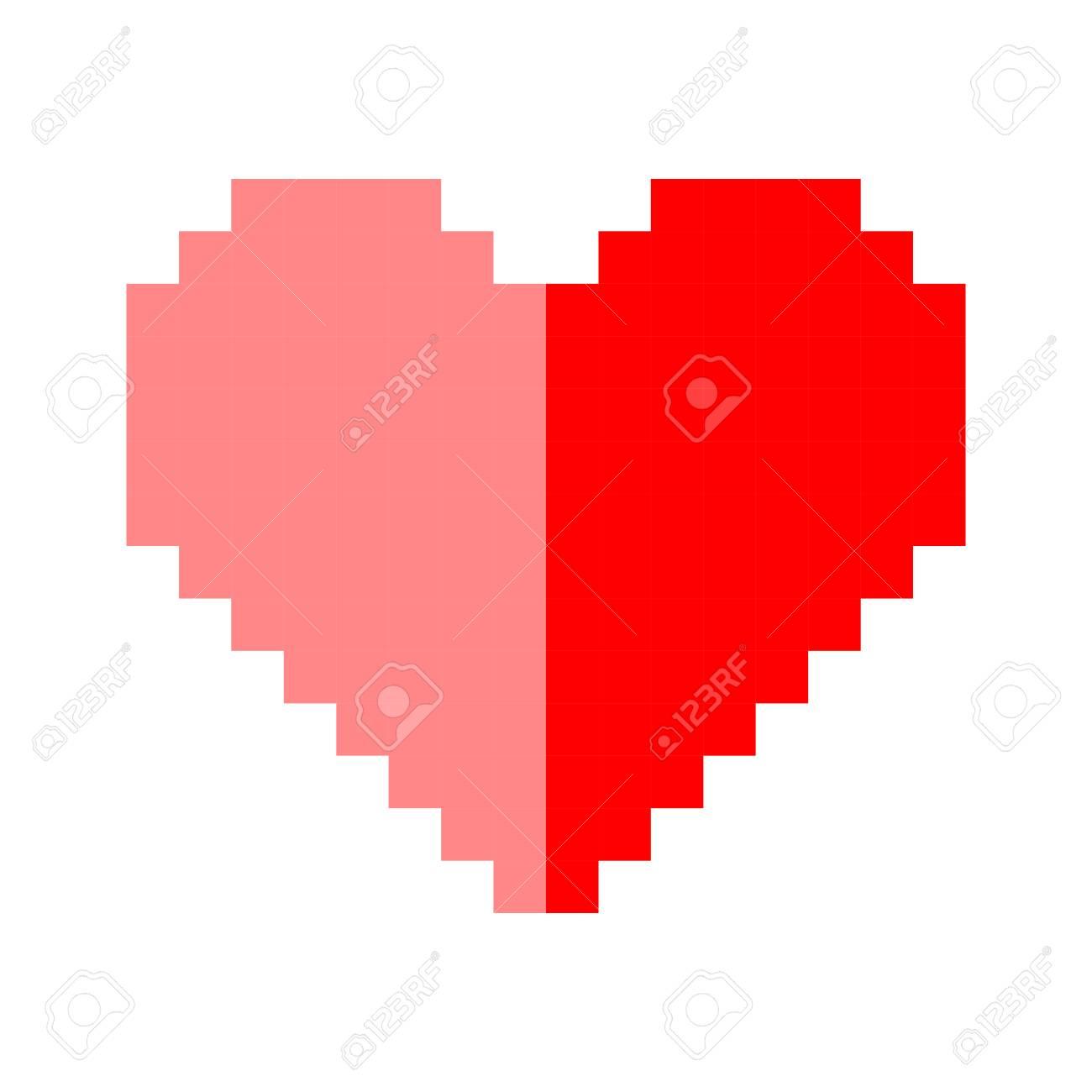 Pixel Art Coeur Amour Couleur Icône Ensemble De La Saint Valentin