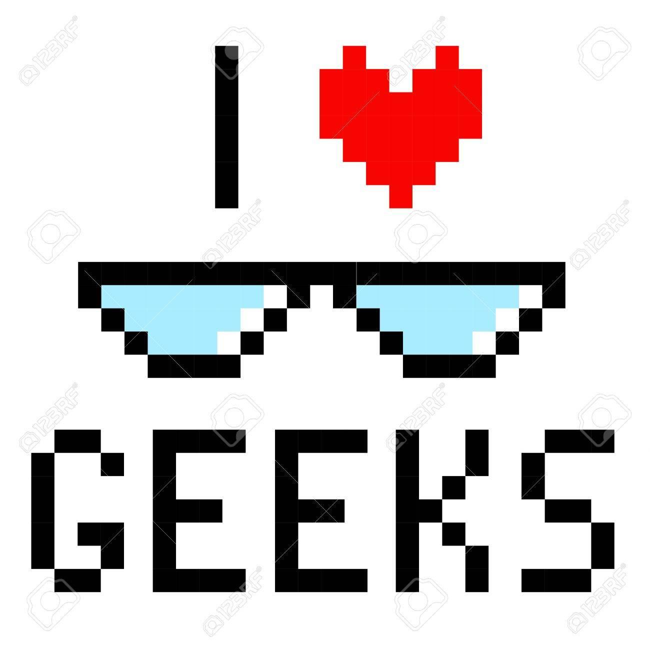 Lunettes Geek Pixel Art Dessin Animé Rétro Style De Jeu