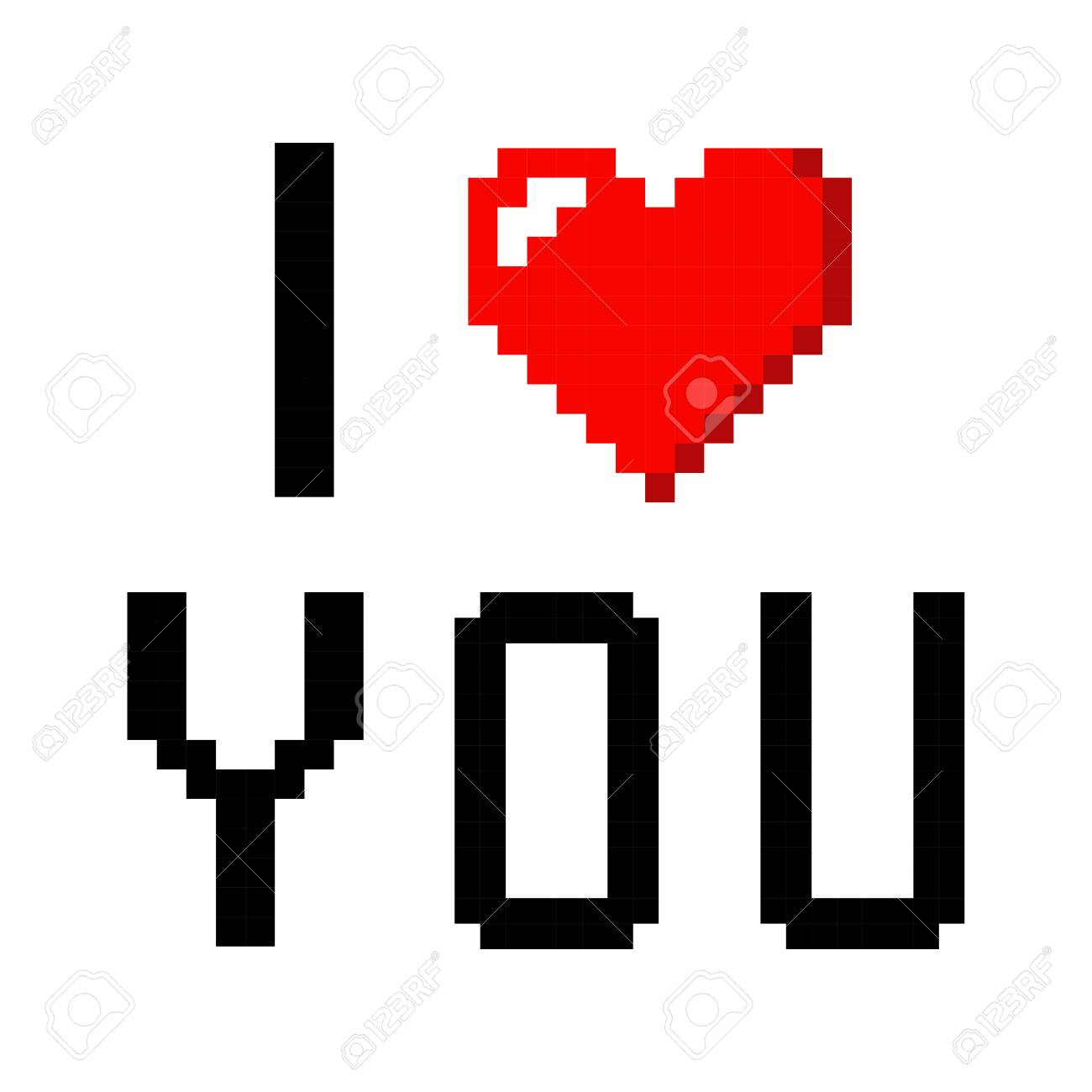 Pixel Art Heart I Love You Color Icon Valentine
