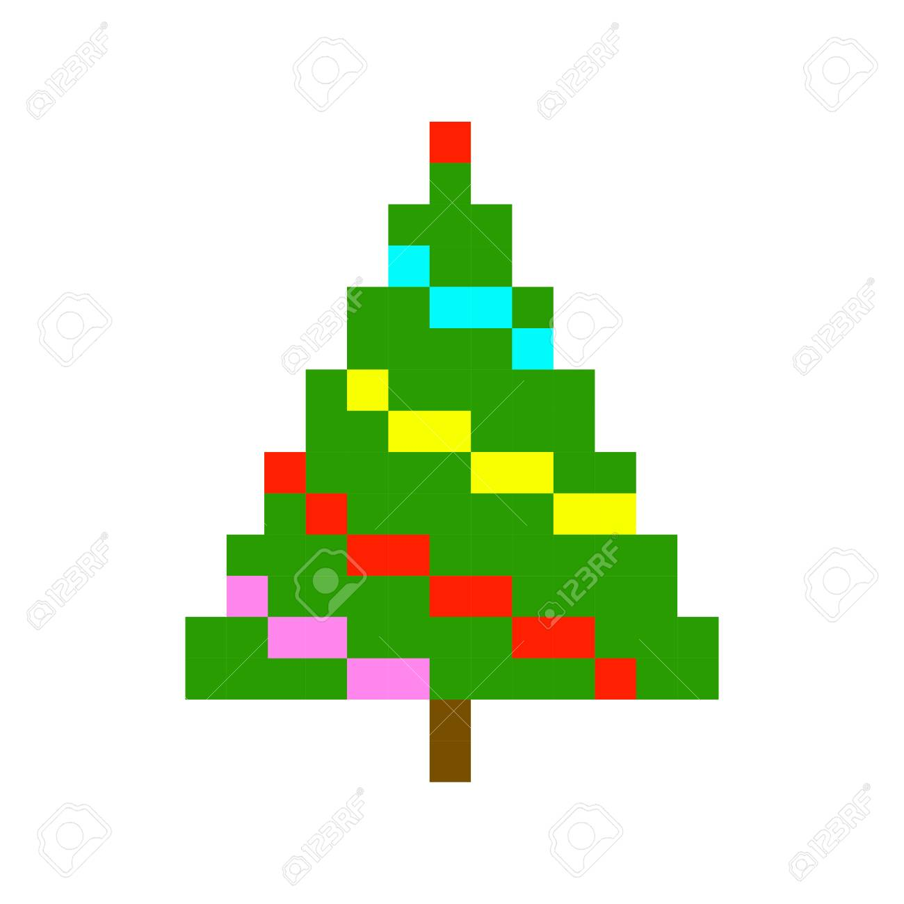 Sapin De Noël Pixel Art Cartoon Jeu Rétro Jeu De Style