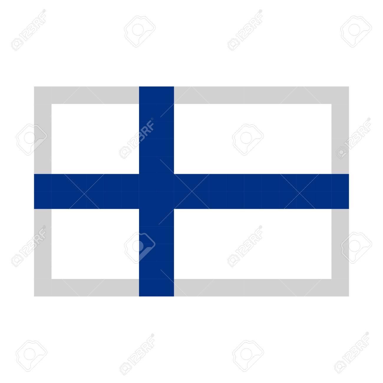 Drapeau De La Finlande Pixel Art Cartoon Style De Jeu Retro Defini Clip Art Libres De Droits Vecteurs Et Illustration Image 94430867