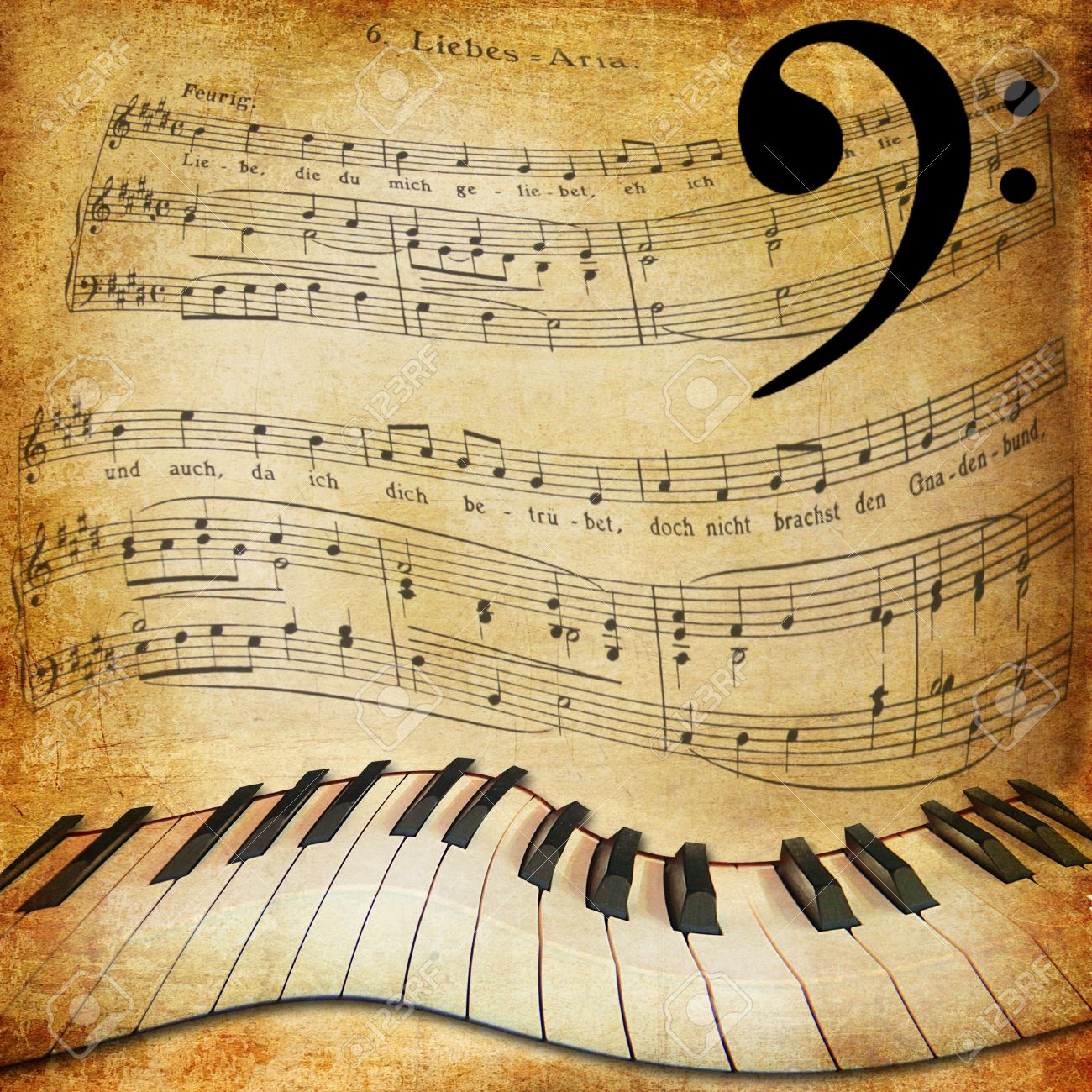 Musical sepia background with warped piano and notes Stock Photo - 14239653
