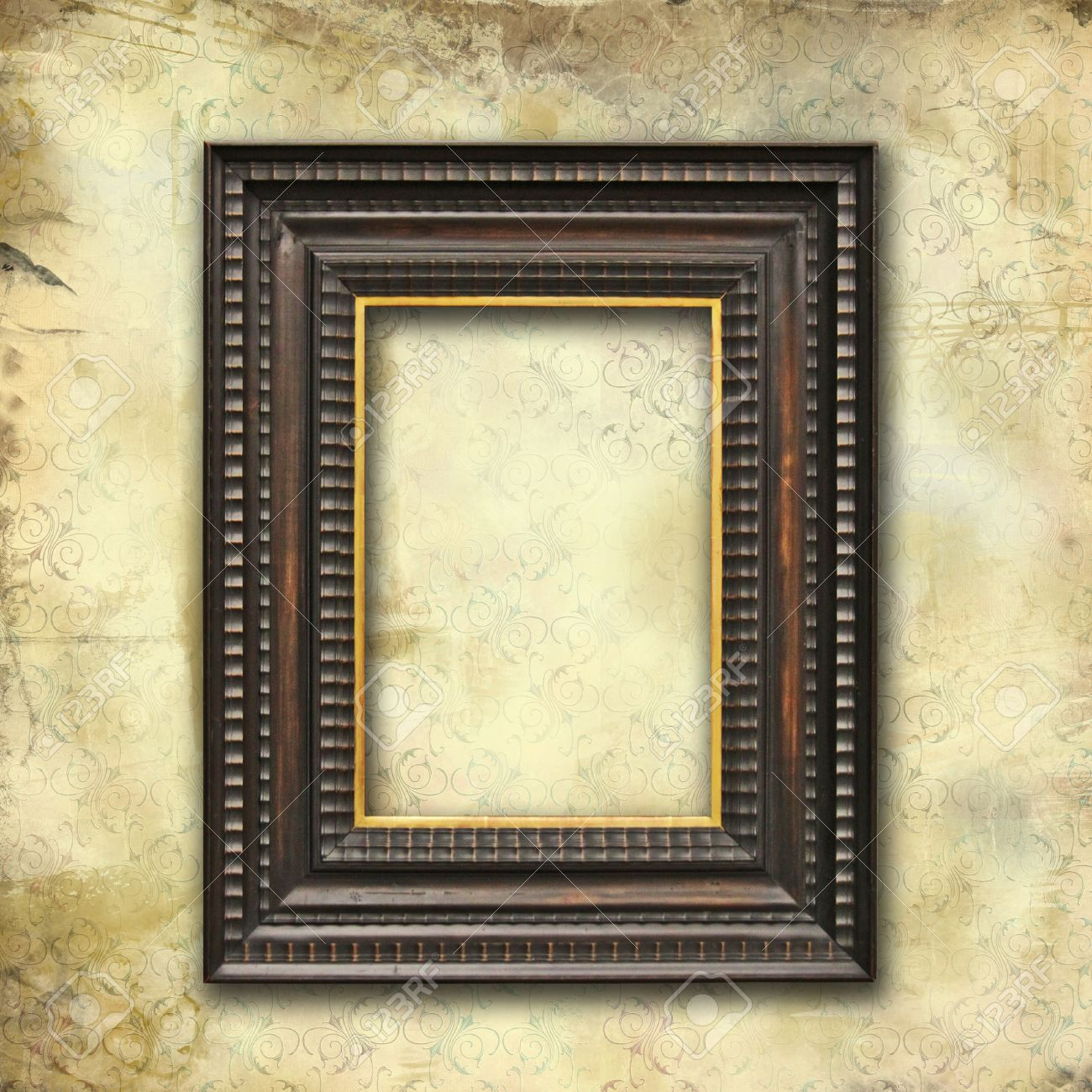 grunge faded wallpaper with old art deco empty frame Stock Photo - 14267422