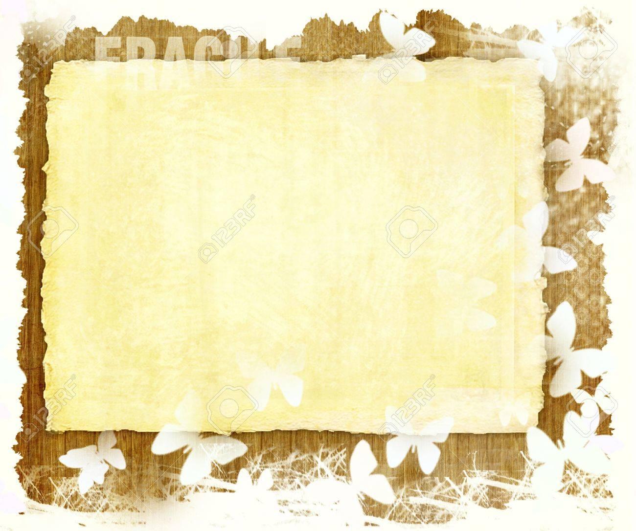 Página En Blanco De Papel Retro Con Mariposas Frontera Blanca En Una ...