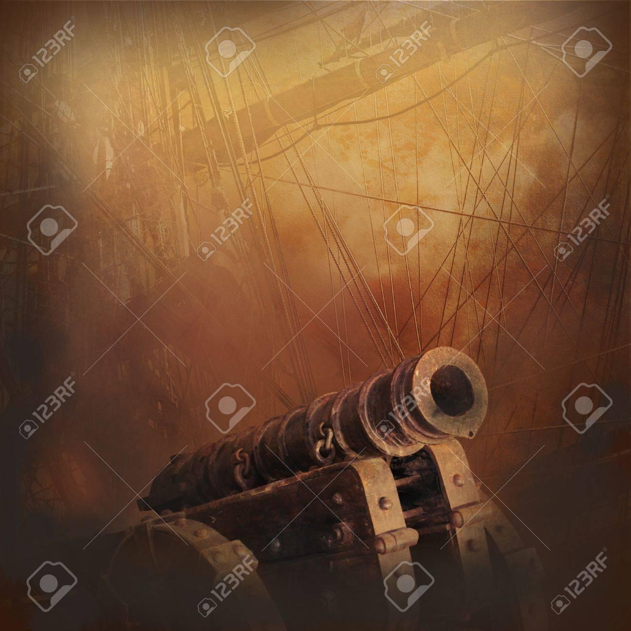 銃 煙 炎 古いセーリング船 冒険 壁紙のフォームでの探査 の写真