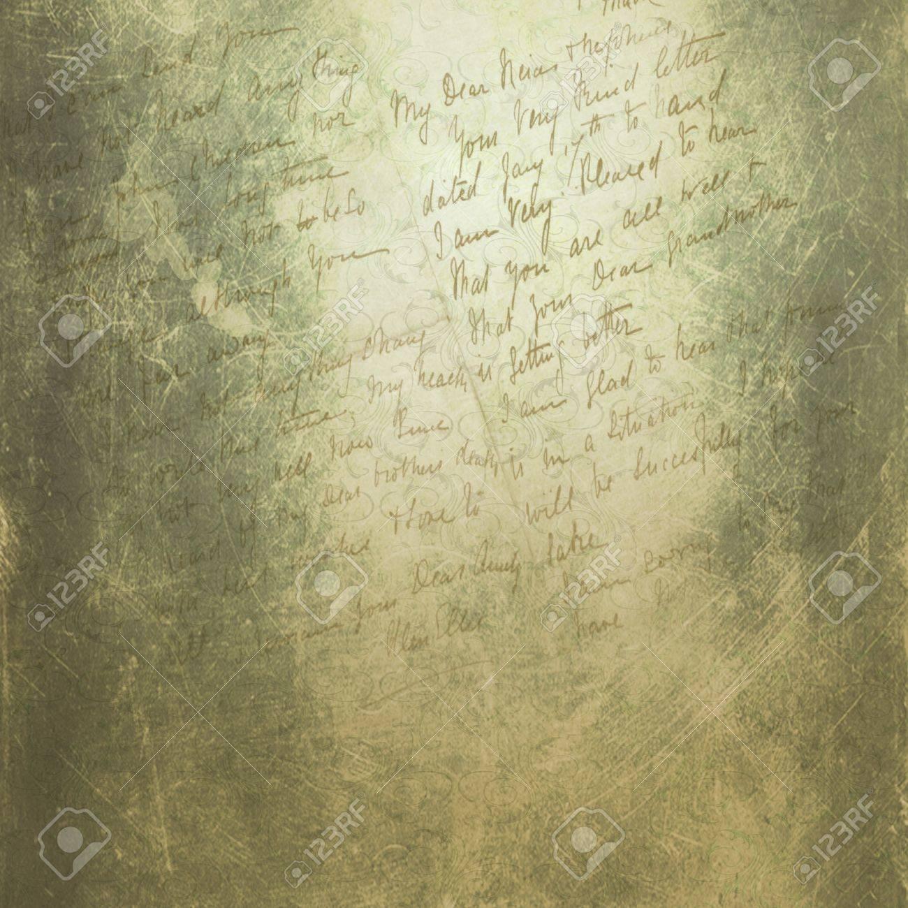 Grunge green background with handwriting Stock Photo - 14267421
