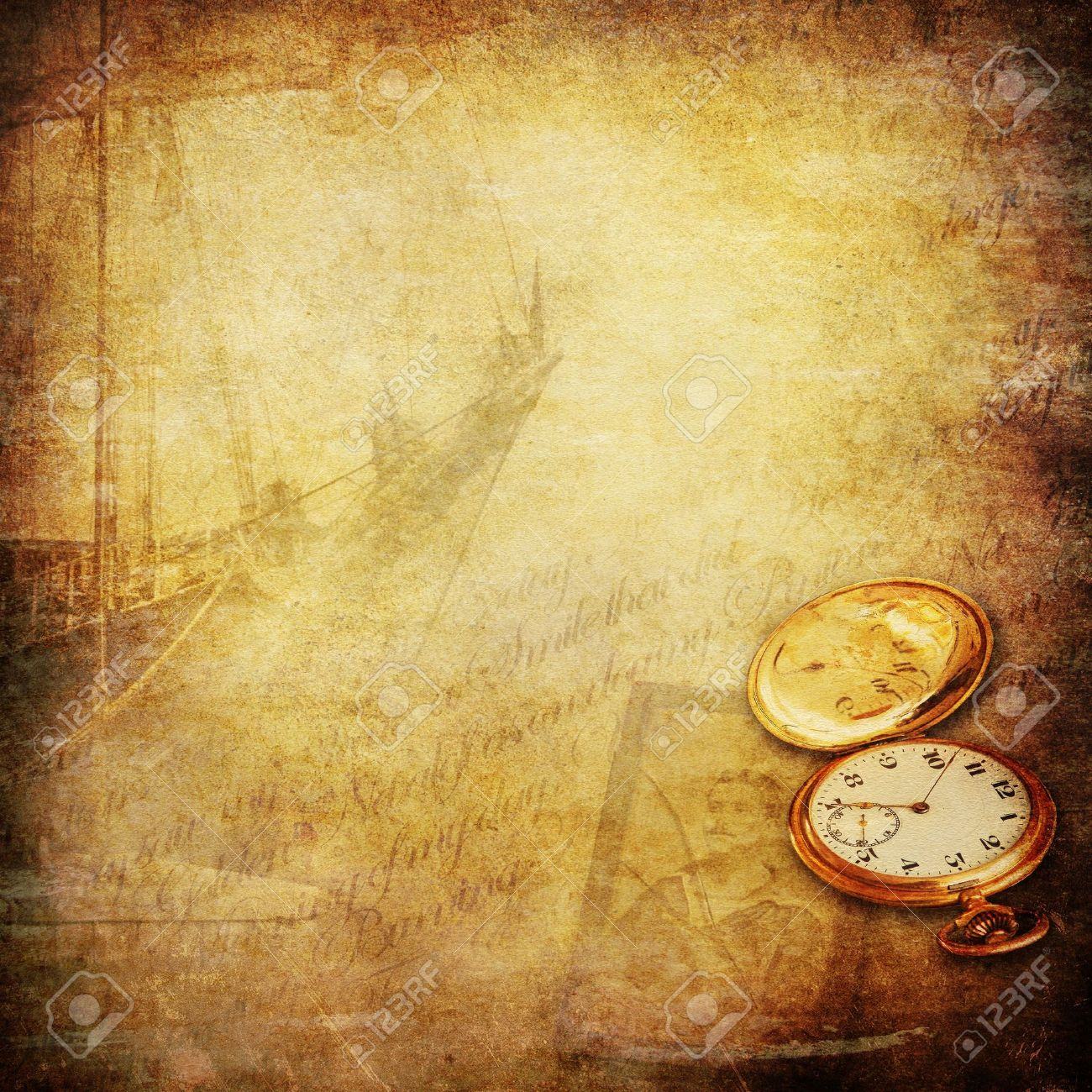 wallpaper with sailing ship, a pocket watch, an old photo of a seaman and a open book Stock Photo - 14267426