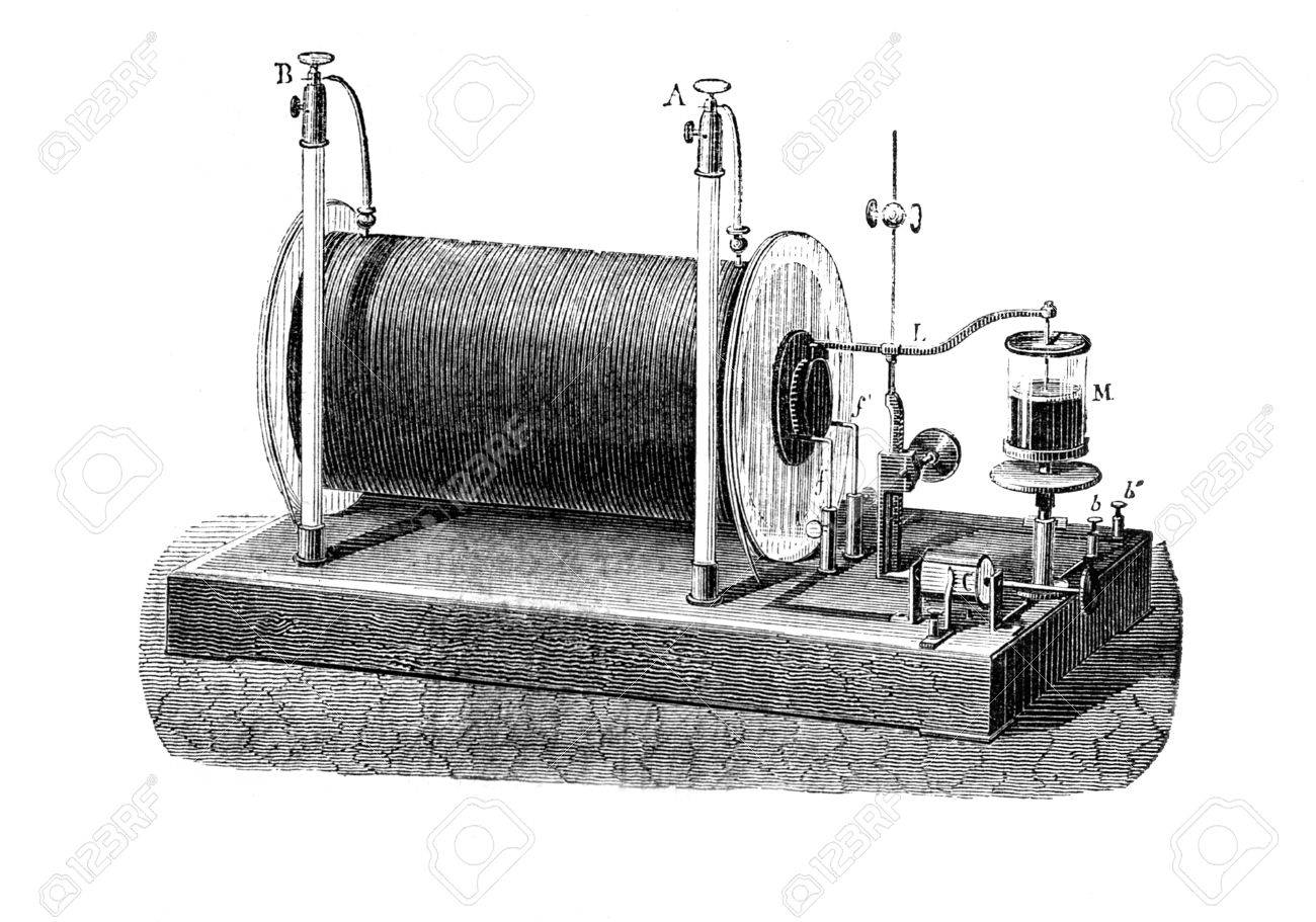 Ruhmkorff inductor, Electrical transformer used to produce high-voltage pulses from a low-voltage direct current, patented in 1851 by Heinrich Ruhmkorff, German inventor Paris - Hachette 1868ngraved by C  Laplante from L Stock Photo - 14329051