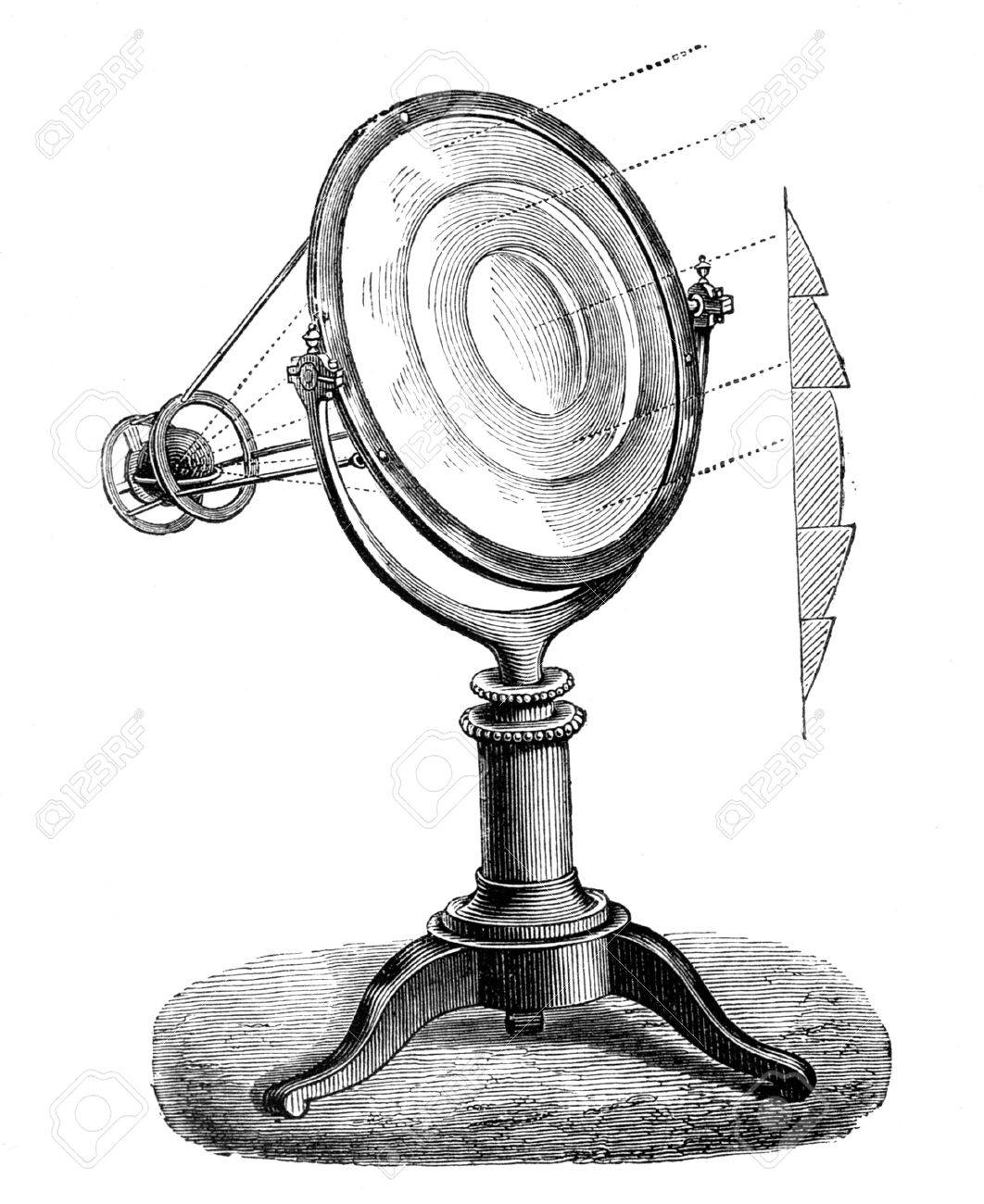 Fresnel lens,  lighthouse lens  working and section L, Paris - Hachette 1868 Stock Photo - 14329045