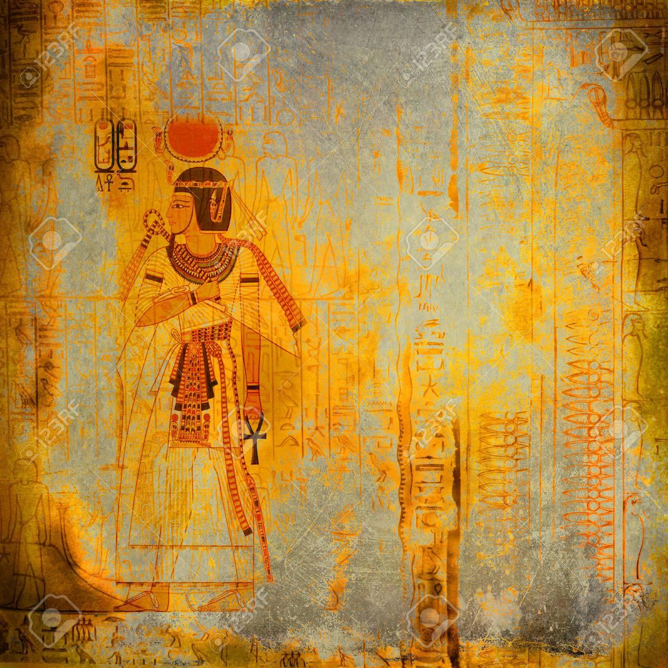 Antique Egytp Wallpaper With Pharaoh And Hieroglyphics Stock Photo