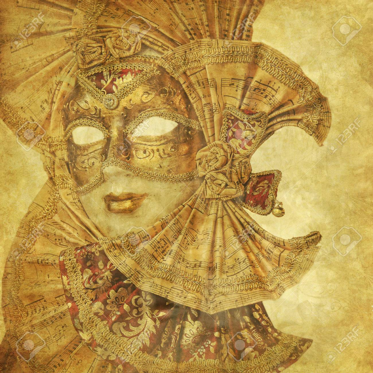 Beautiful Venetian golden mask on a grunge floral background Stock Photo - 29867716