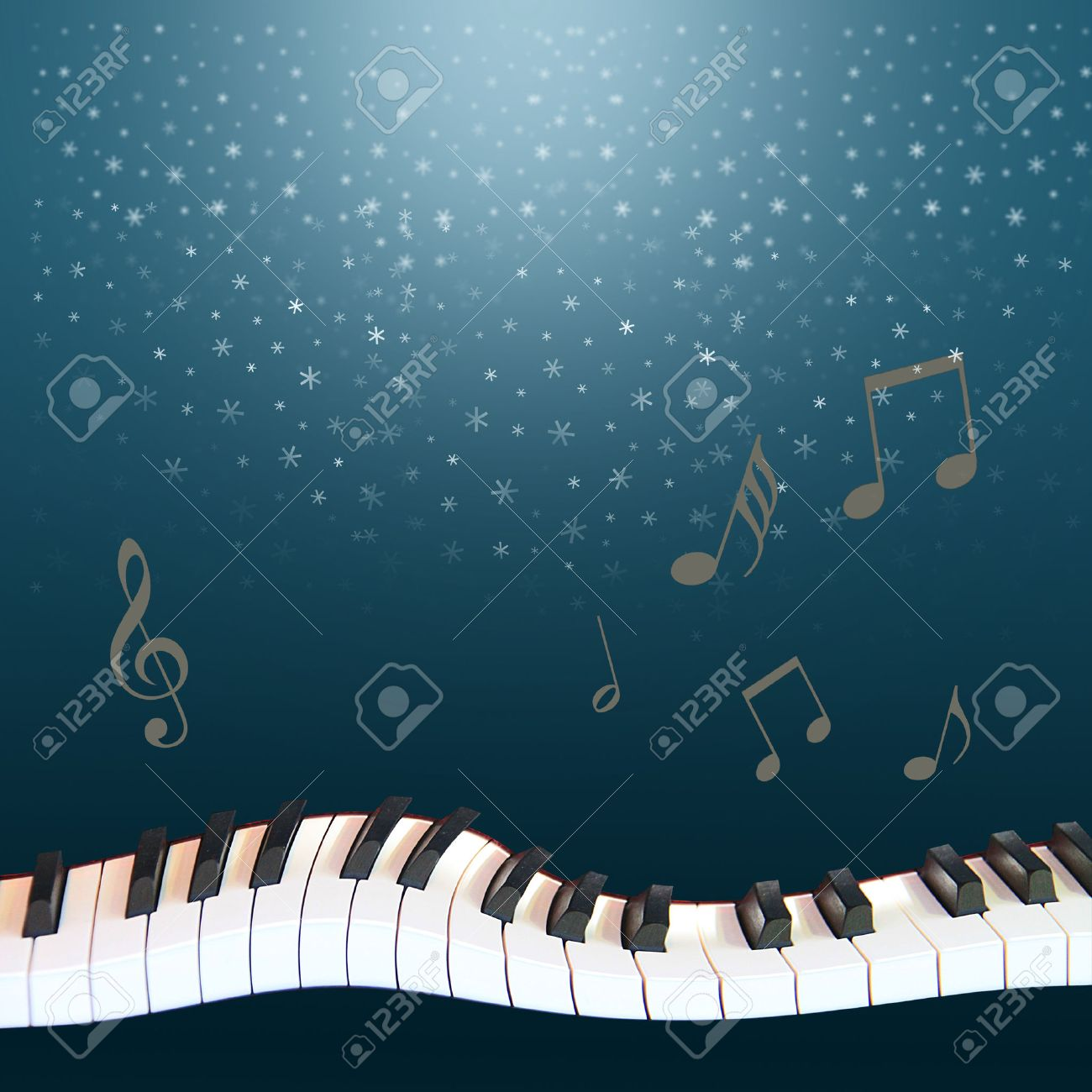 a musical winter night  snow fallen from the dark blue sky, a warped piano and notes soaring Stock Photo - 29867728