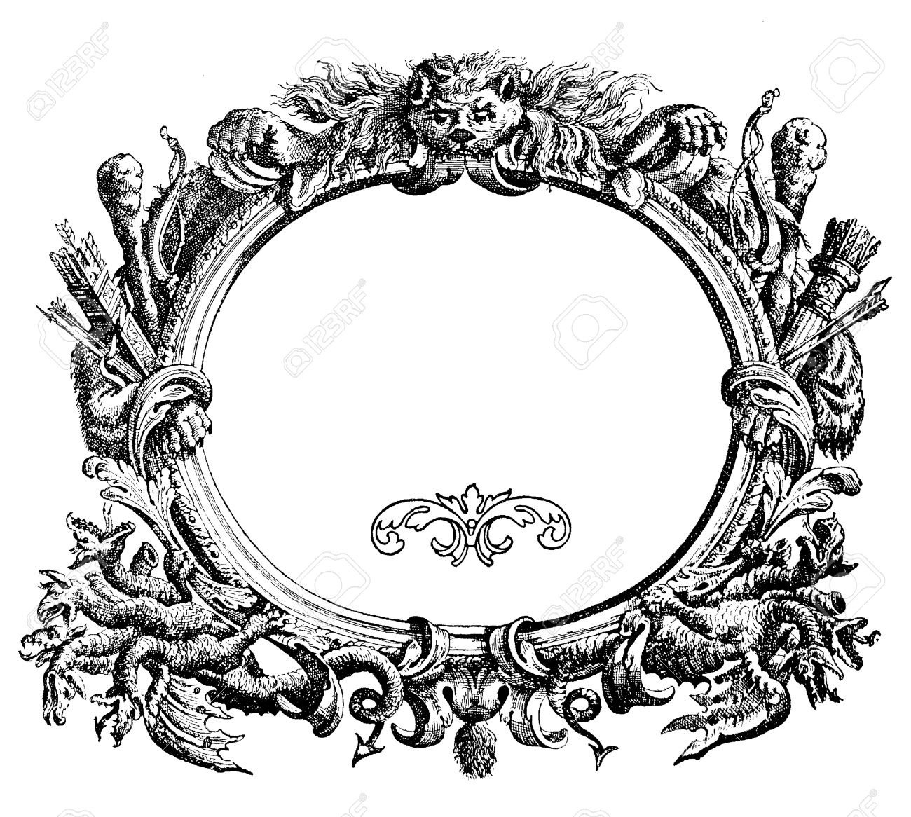 Renaissance ornamental frame with wild beast,arch, arrows and Hydra heads Stock Photo - 30522721