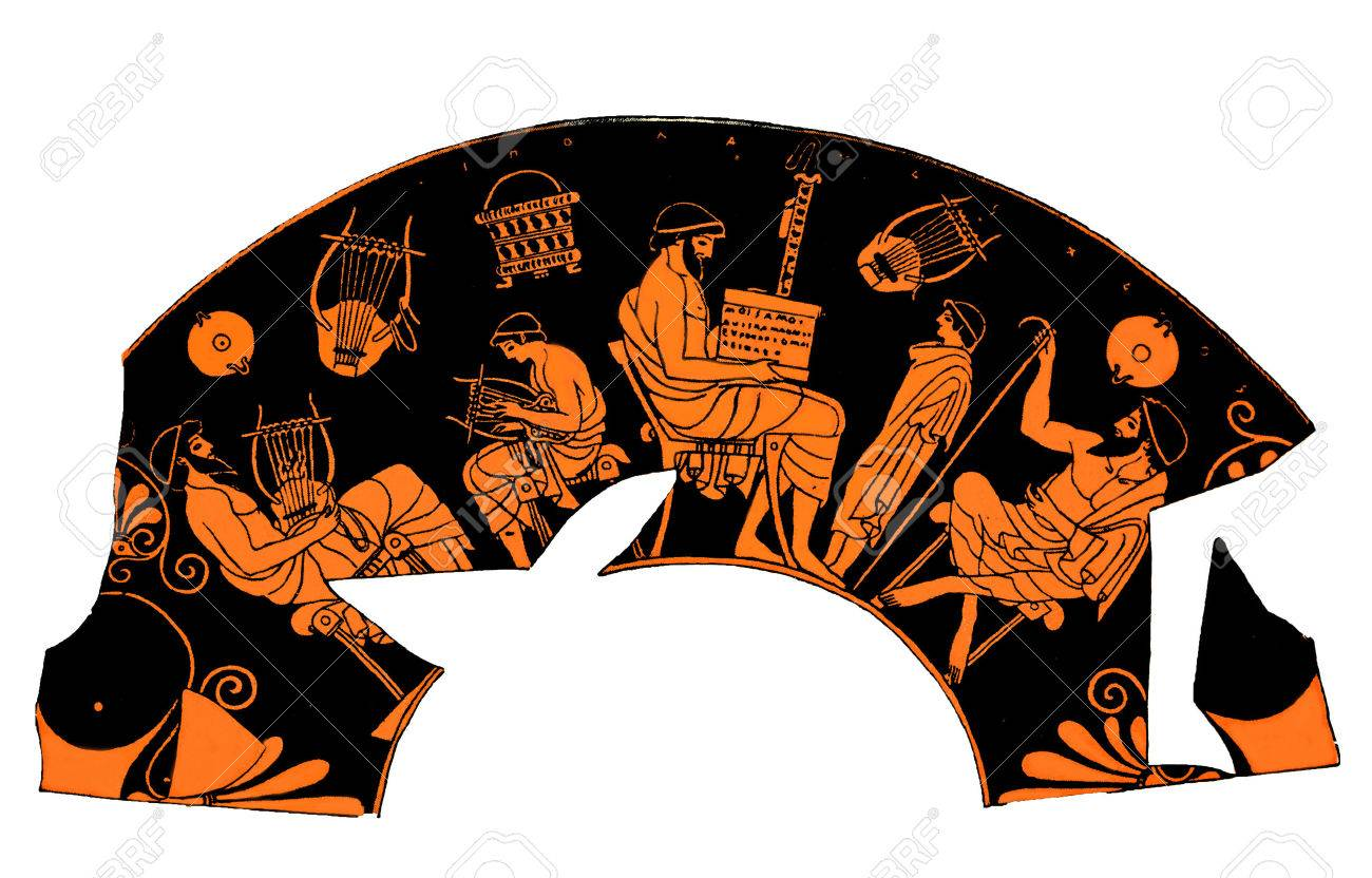 Ancient Greek vase depicting a school lesson of music Stock Photo - 30522685