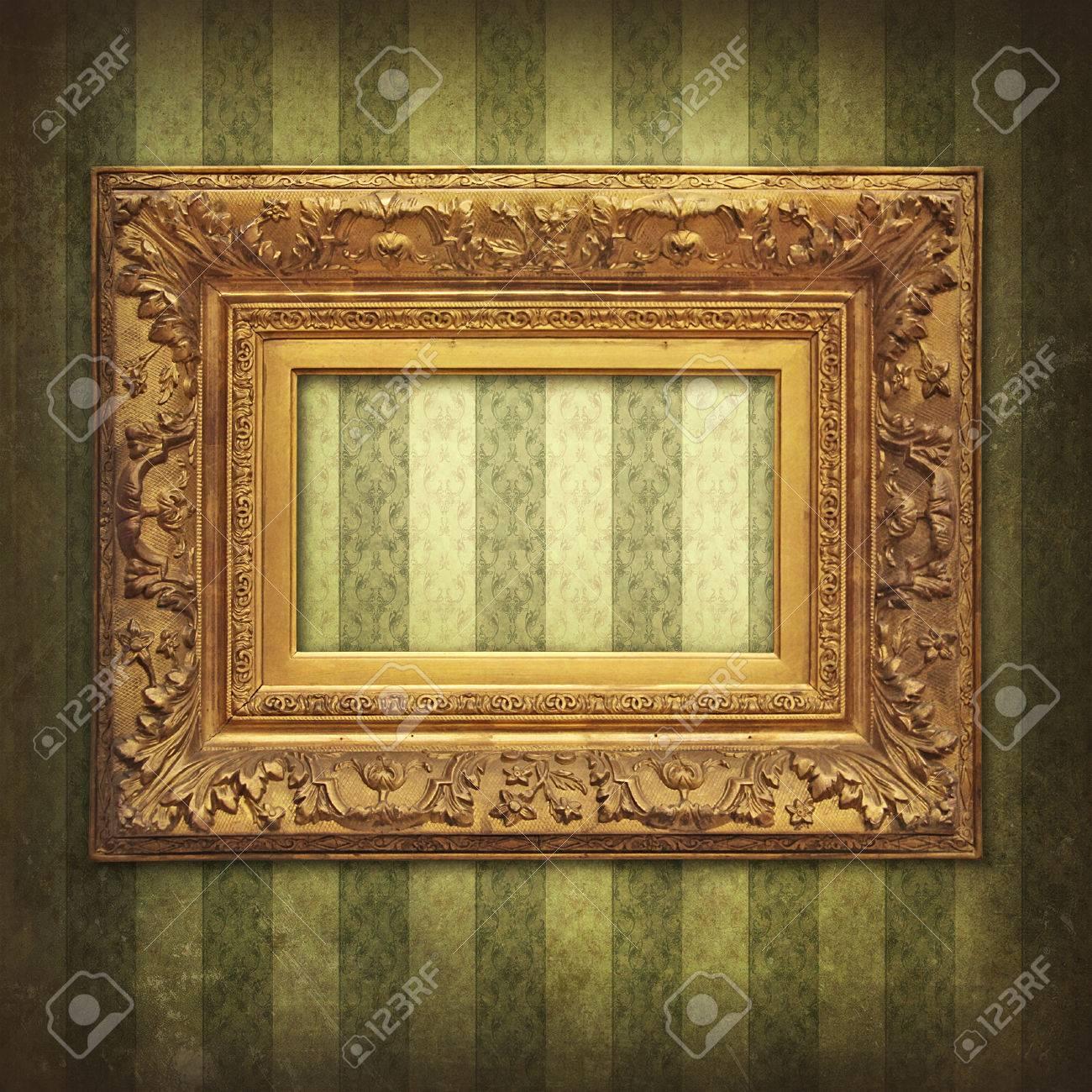 Baroque Golden Frame On Vintage Victorian Wallpaper Stock Photo ...