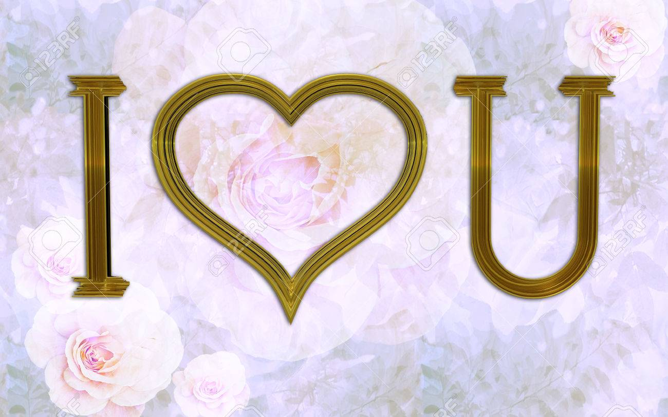 I Love You, With Heart Shaped Frame And Vintage Wallpaper Stock ...