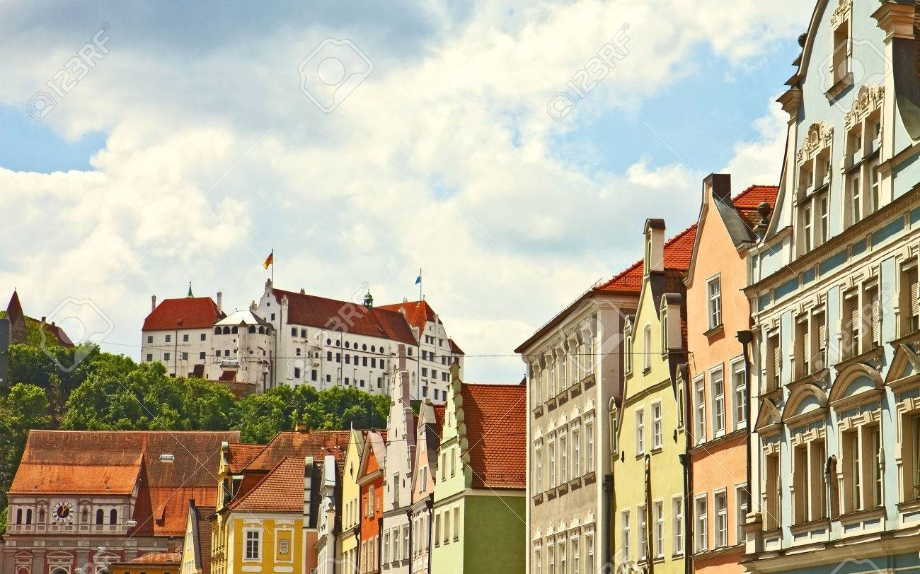 Panoramic view of Landshut, Bavarian city, with the medieval castle and an array of colorful antique buildings Stock Photo - 36427340
