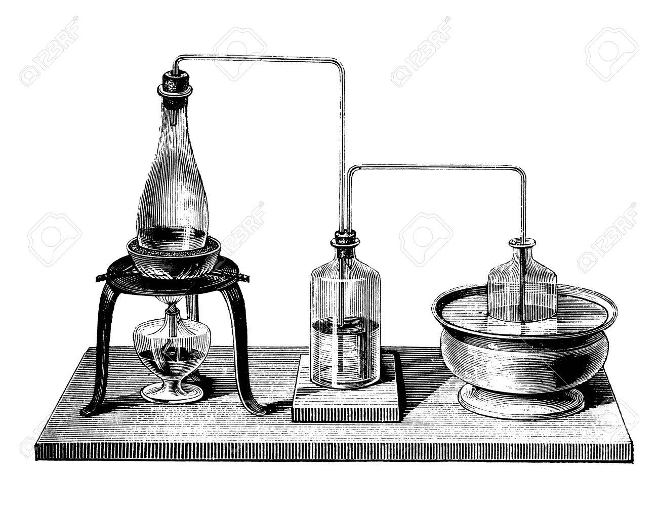 Vintage chemistry equipment, device to perform a double distillation (rectification) by inserting between kettle and condenser an