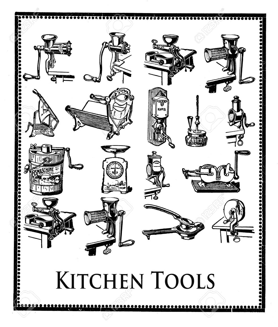 Engraving With Essential Kitchen Tools For Professional Food.. Stock ...