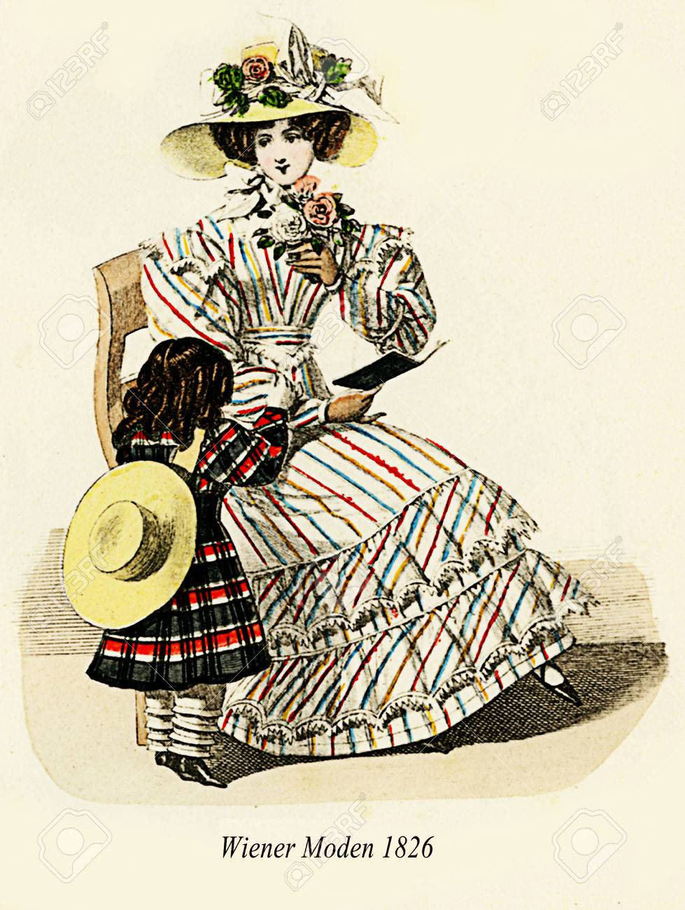 Vintage drawing,  lady sitting reading a story to a little girl  , Wiener Moden,Vienna  1826 Stock Photo - 46906894
