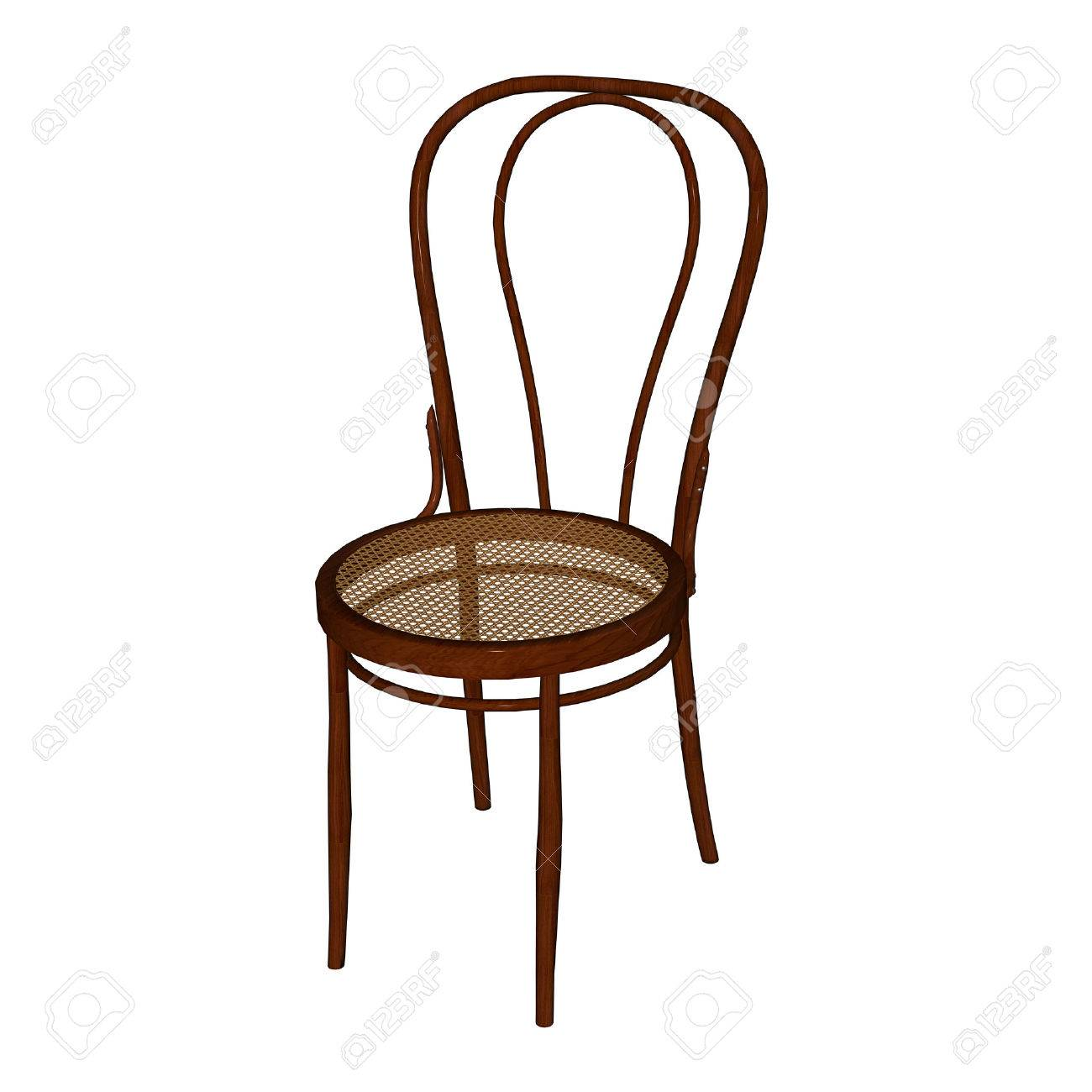 Art Deco Thonet Chair With Wien Caned Seat 3d Rendering