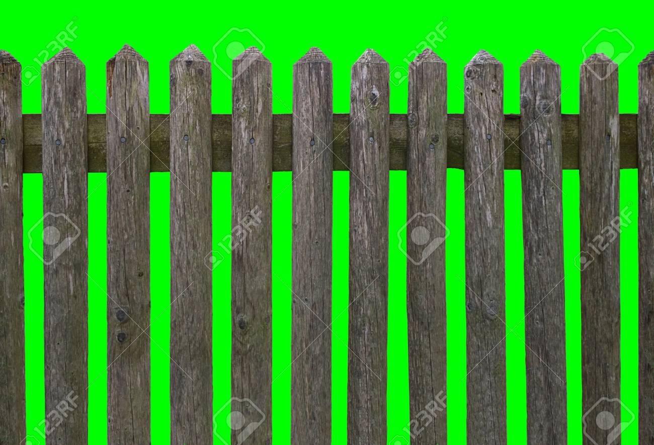 Hd Orizzontale Recinzione In Legno Senza Soluzione Di Continuità Di Legno Stagionato Isolato Su Sfondo Verde