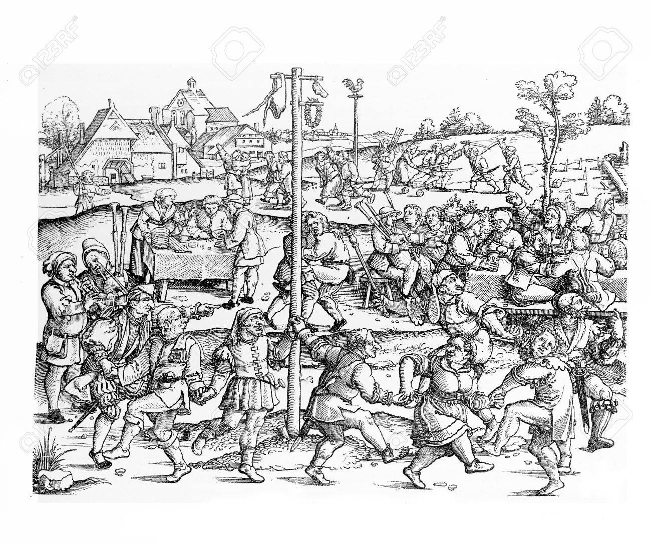 Middle ages peasant celebrate several festivals at harvest time and during the year, related to religion and nature. Stock Photo - 59306825