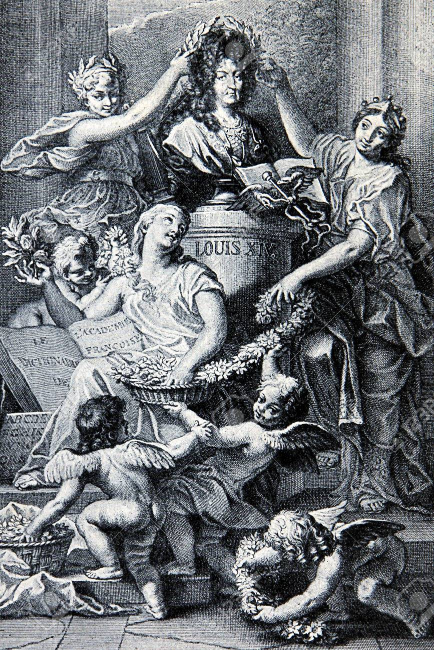 Allegorical glorification of Louis XIV king of France from 1643 until his  death in 1715 Stock