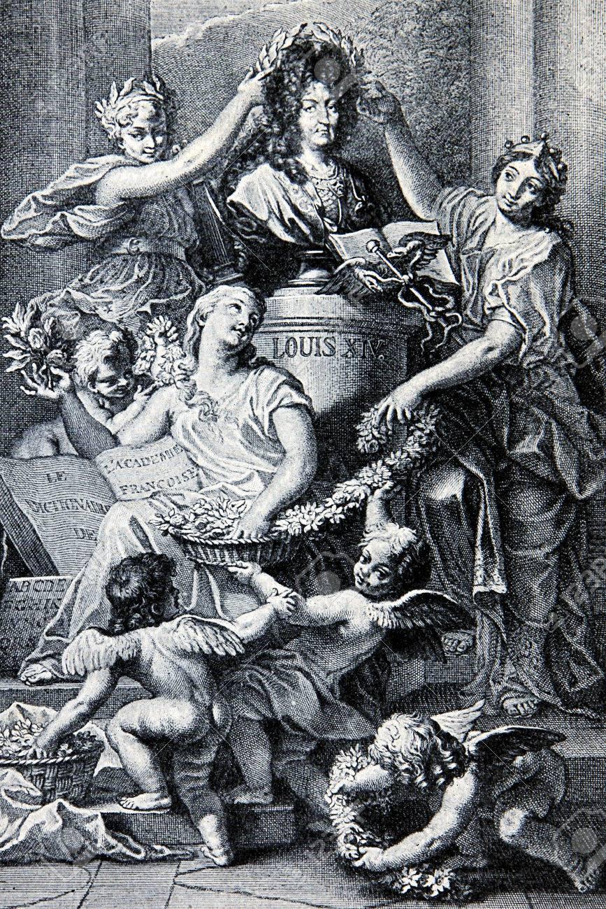 Foto de archivo - Glorificación alegórica de Luis XIV, rey de Francia desde  1643 hasta su muerte en 1715