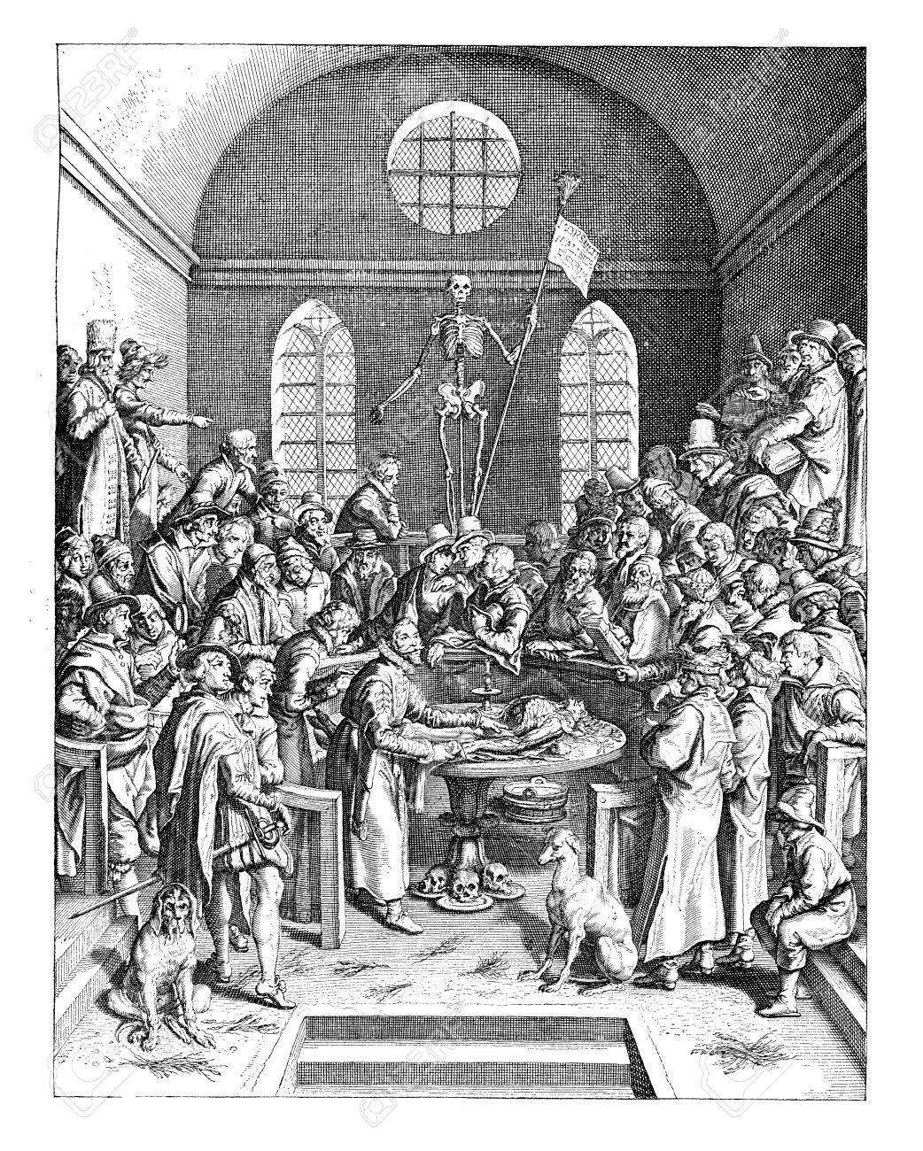 Anatomy Lesson At The University Medical College, Year 1616 Stock ...