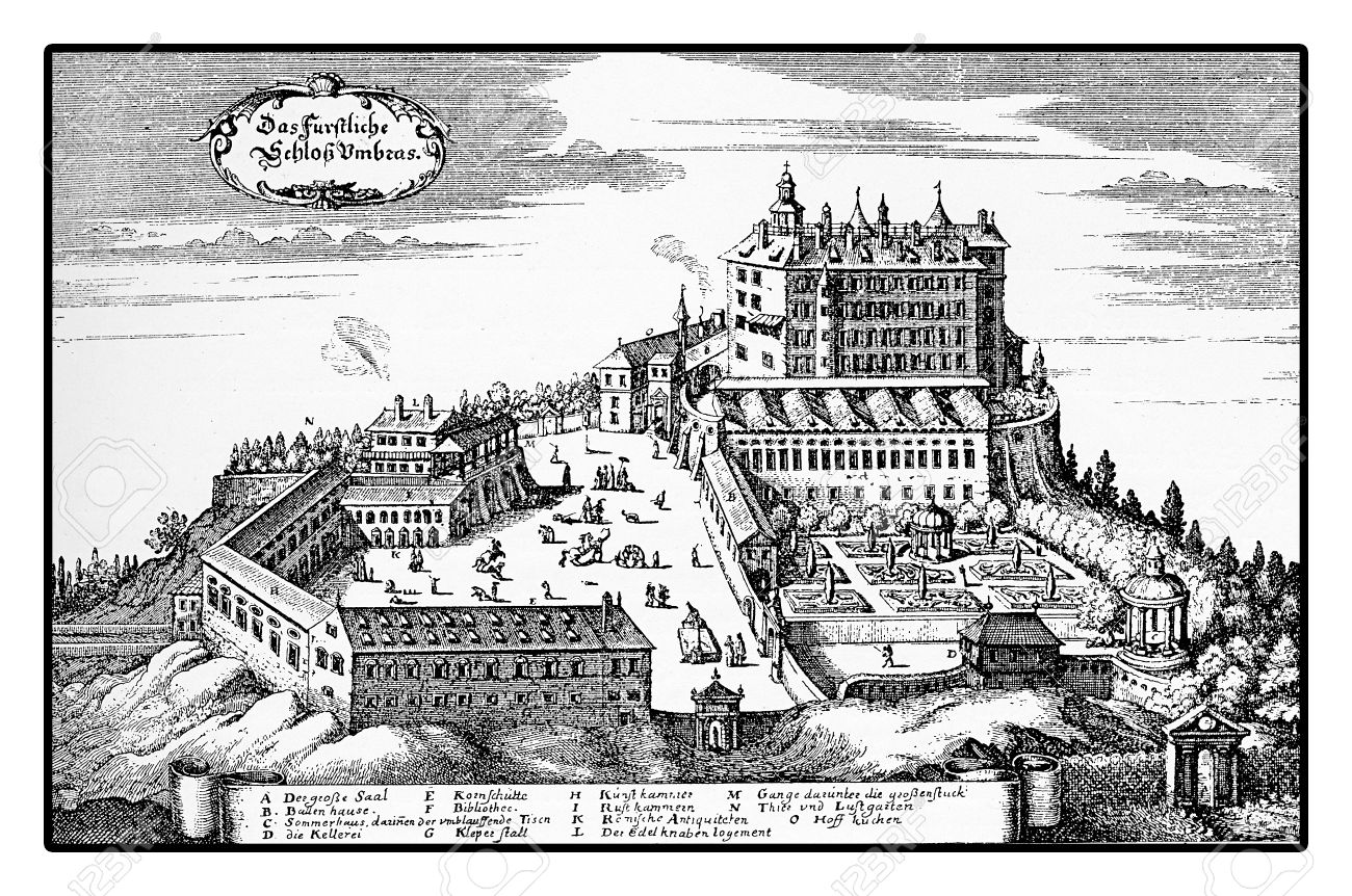 Stock Photo - Year 1677 vintage engraving of Ambras Renaissance castle on  the hills above Innsbruck