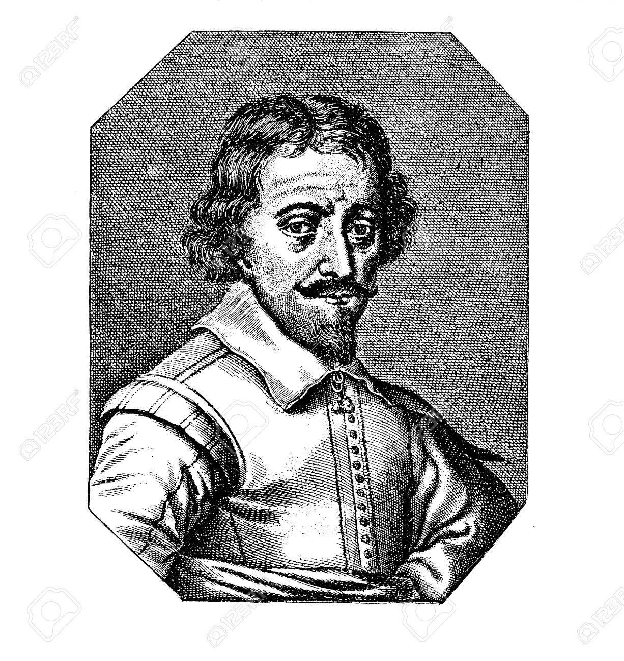 Foto de archivo - Retrato de Zacharias Janssen (1585 -1632) Holandés  espectáculo-fabricante, inventor del telescopio óptico