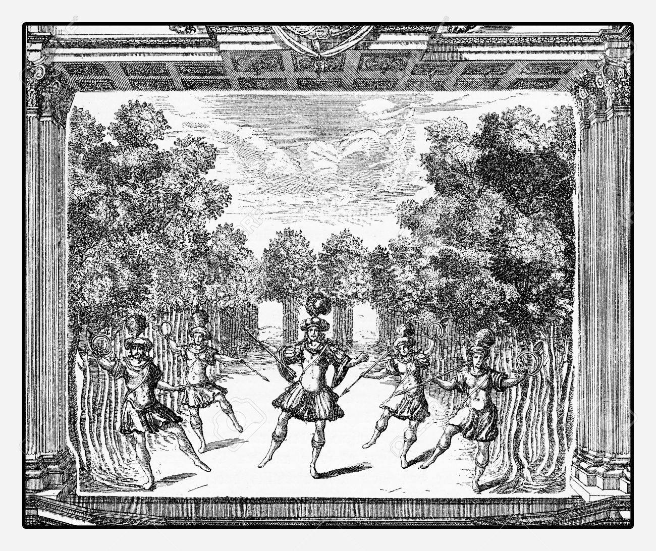 Renaissance ballet performance at stage in Heidelberg castle, year 1684  vintage engraving Stock Photo -