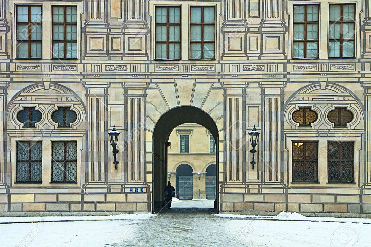 Munich, Germany - Suggestive winter view of the courtyards of the residence, royal palace of the Bavarian kings in Renaissance Italian style painted with forced perspective decorations Stock Photo - 73197540