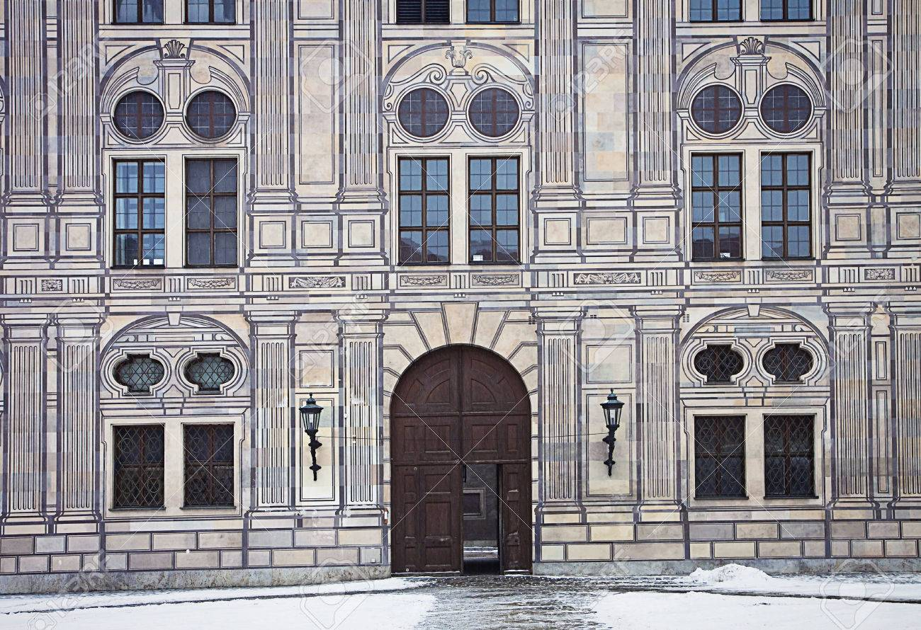 Munich, Germany - Suggestive winter view of one of the entrance of the residence, royal palace of the Bavarian kings in Renaissance Italian style painted with forced perspective decorations Stock Photo - 73065357