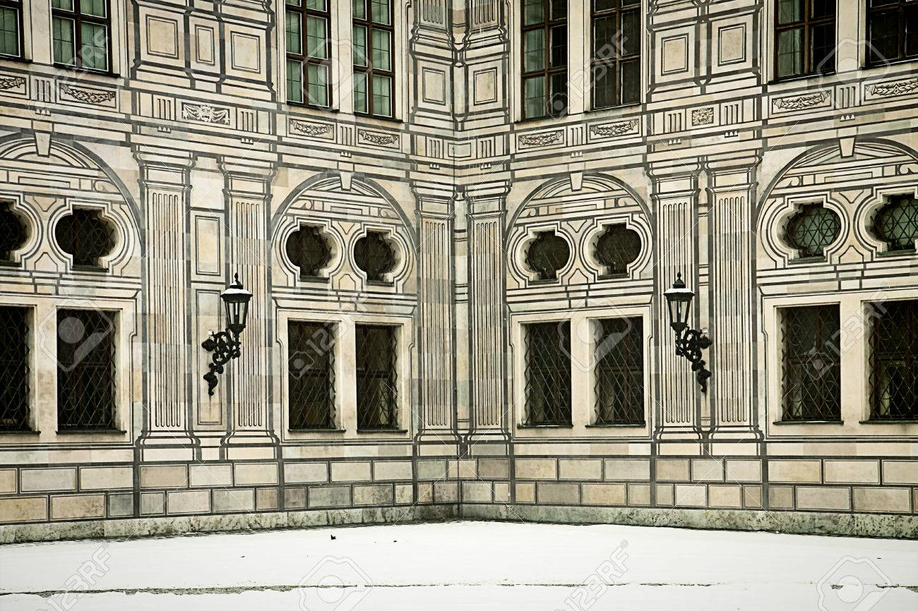 Munich, Germany - suggestive winter view a courtyard corner of the Residenz, royal palace of the Bavarian kings in Renaissance Italian style painted with forced perspective decorations Stock Photo - 73248525