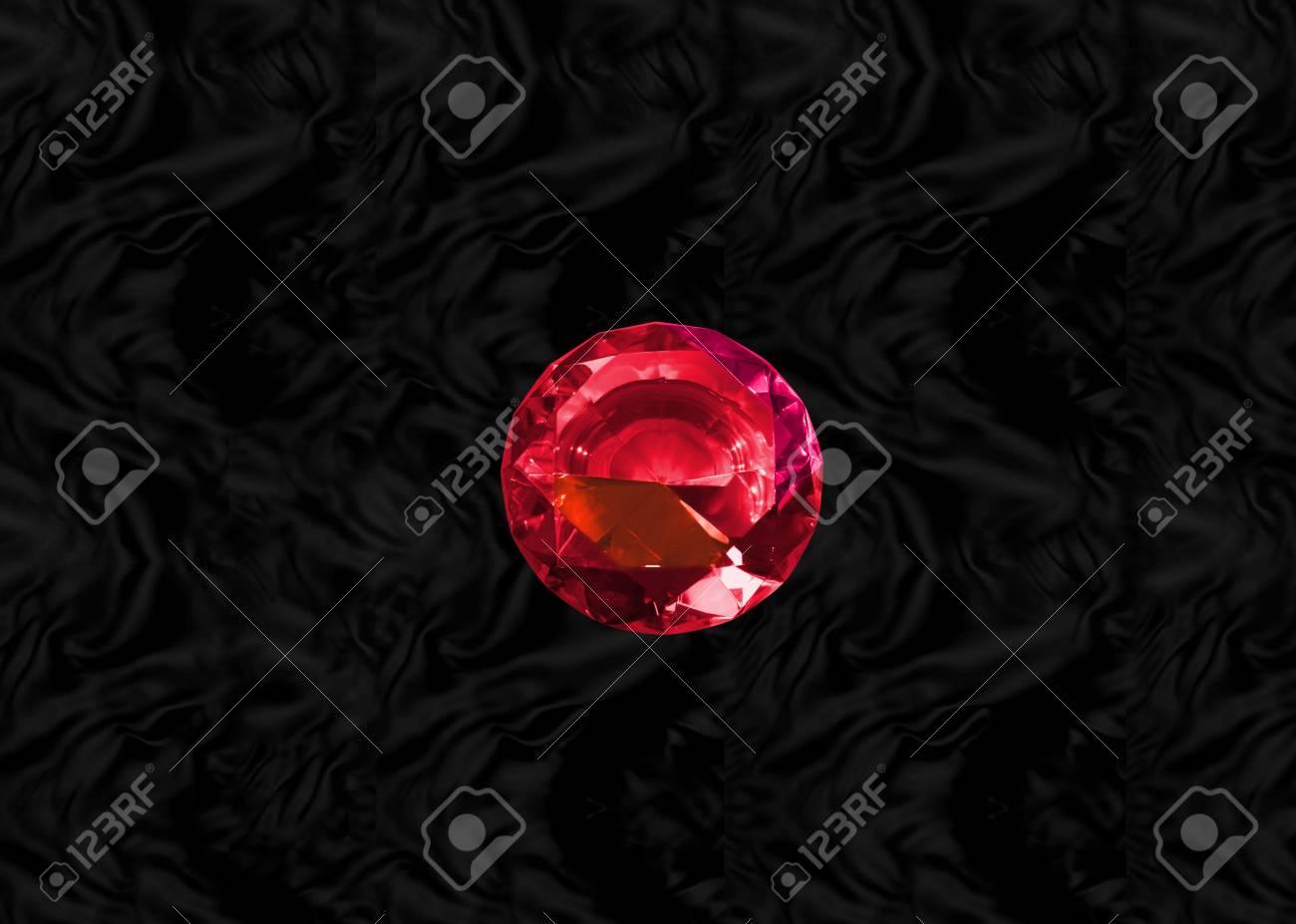 Glittering gem, red ruby on black velvet background Stock Photo - 73065681