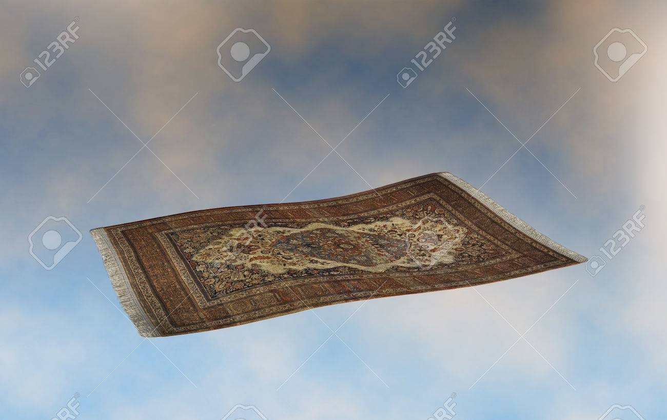 surrealistic flying carpet against a sunset cloudscape. 3D rendering Stock Photo - 73065685