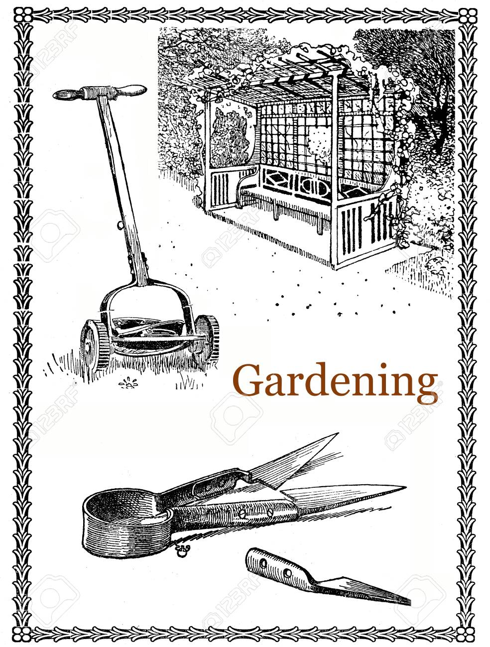 Vintage Gardening Engraving, Elegant Frame With Lawn Mower, Tools ...