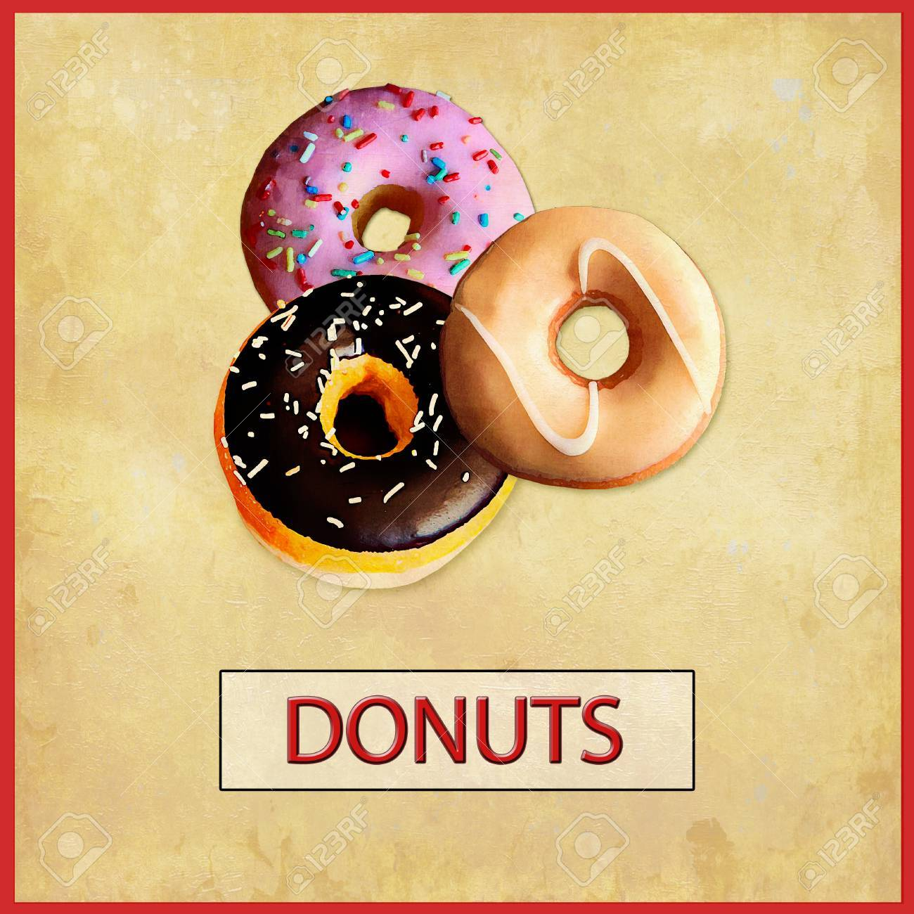 Doughnuts with glazed cream, chocolate and sugar sprinkes, placard  with grunge old-fashioned effects Stock Photo - 73541356