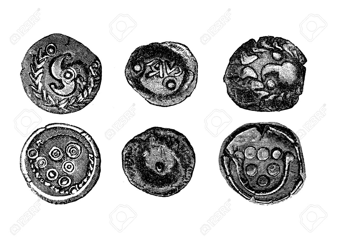 Vintage Engraving Of Golden Coins Of The Celts In Iron Age Stock