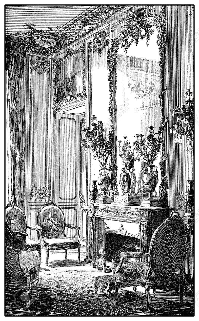 reich verzierter handspiegel standardbild weinlesestich des barocken stils reich verzierter salon mit kamin spiegel und gepolsterten stühlen xvii jahrhundert des barocken reich verzierter mit kamin