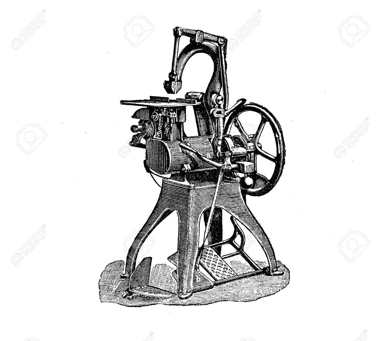 Wire Binding Machine For Press Production, Vintage Engraving Stock ...