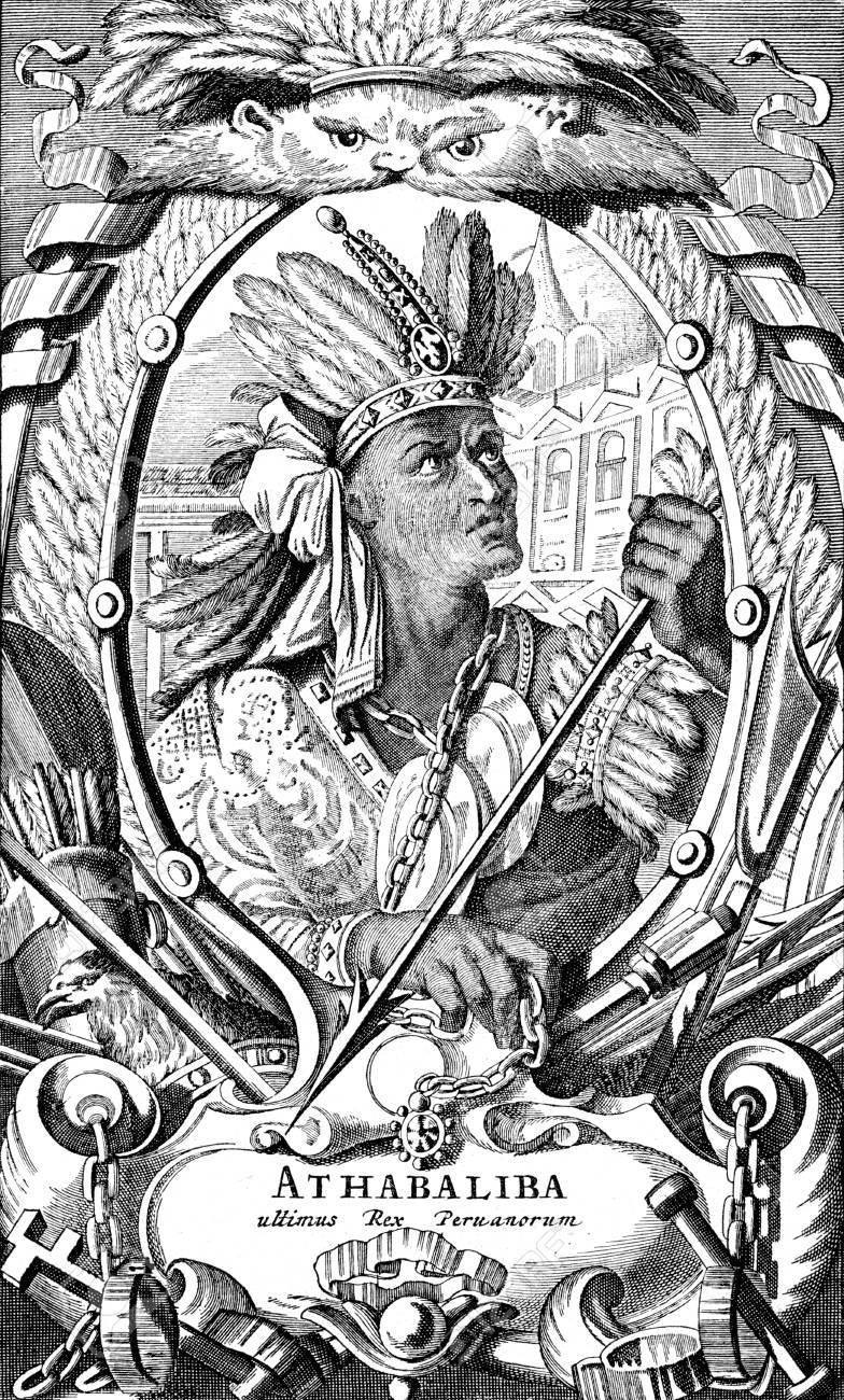 インカ皇帝アタワルパの肖像画を...