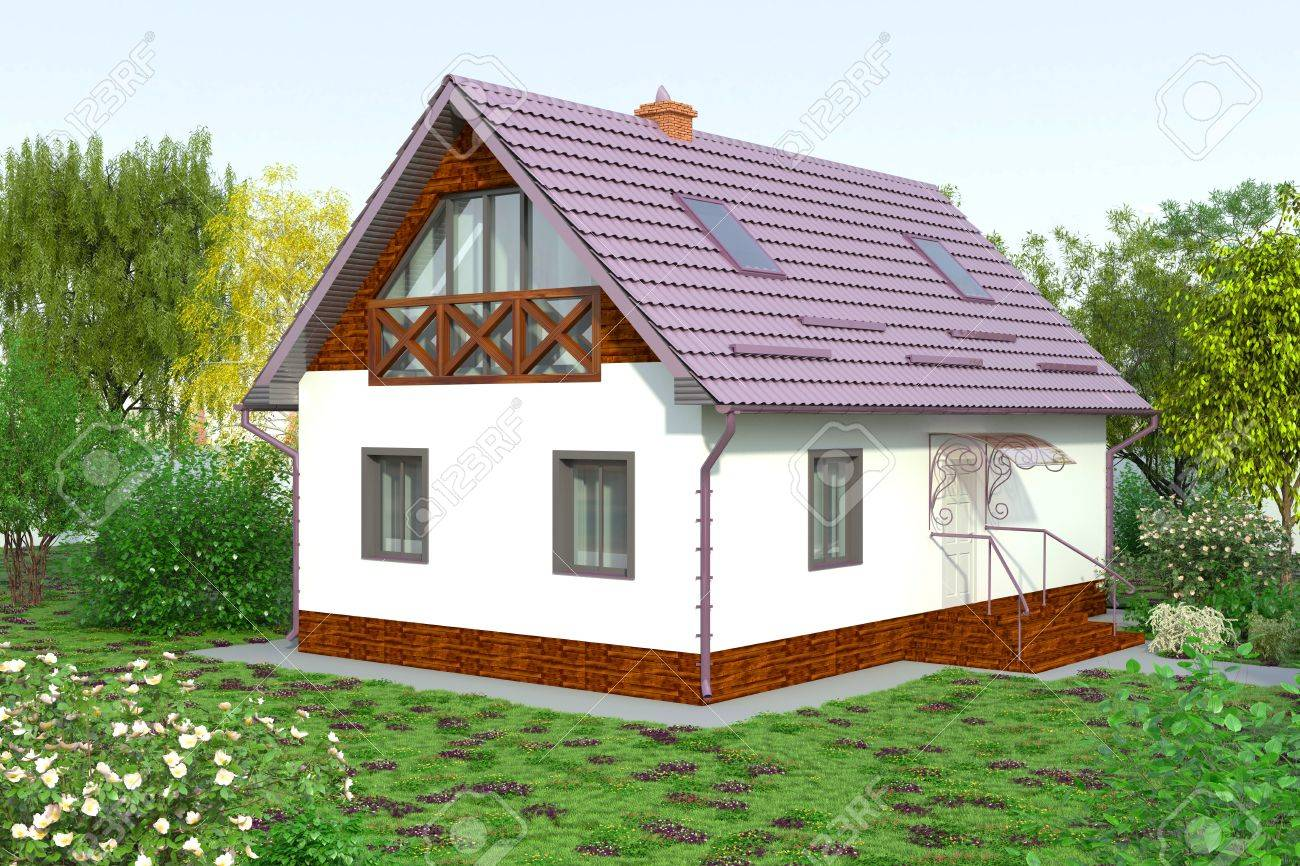 A cozy little house with a flower garden stock photo 39893562