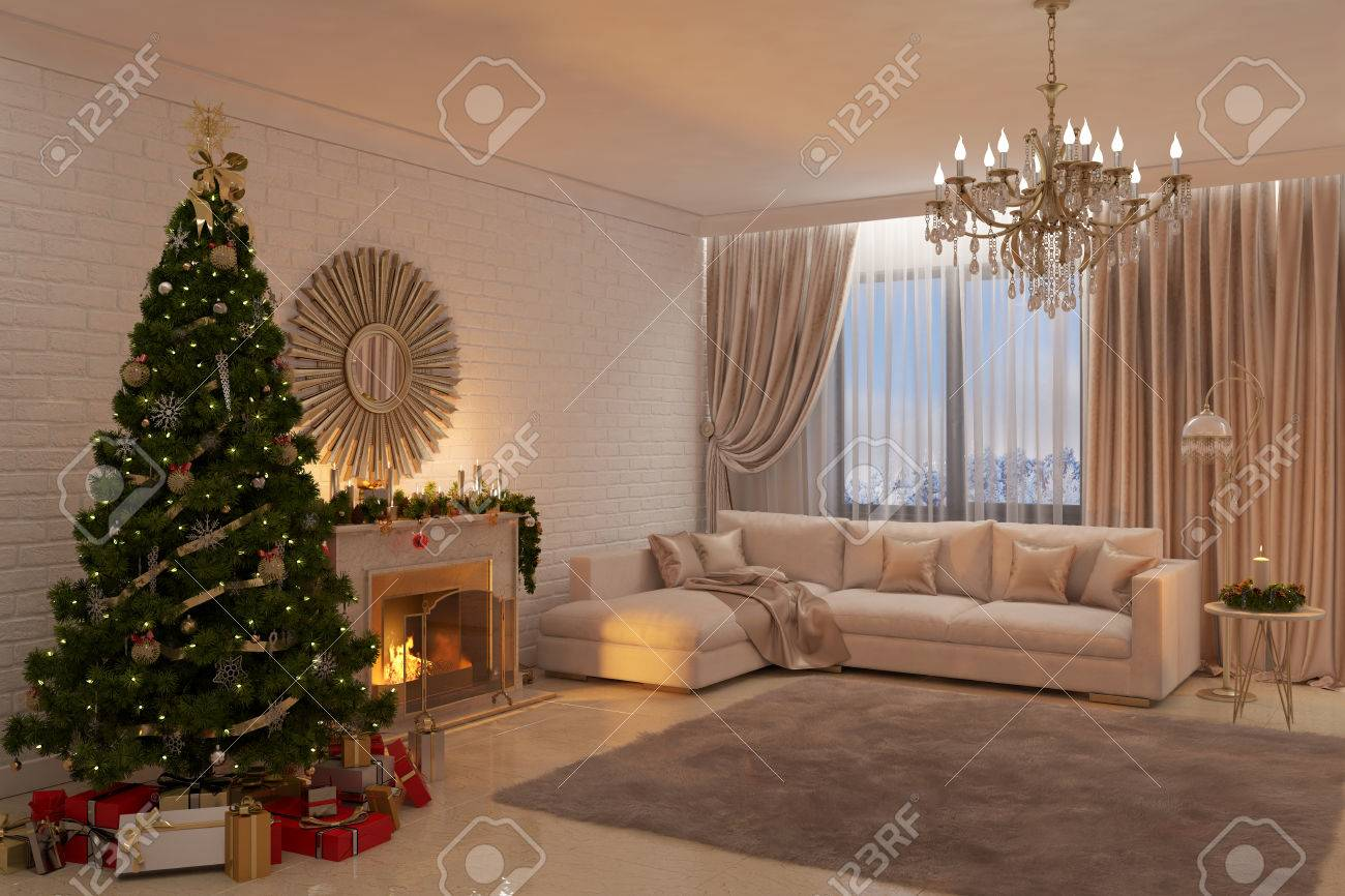 3d illustration of Christmas livingroom with fireplace, tree and presents - 69507039