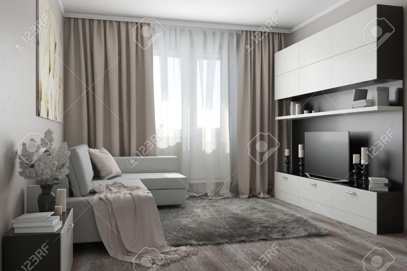 Salone moderno in tonalità chiare con un divano, un armadio con TV, fiori e  accessori