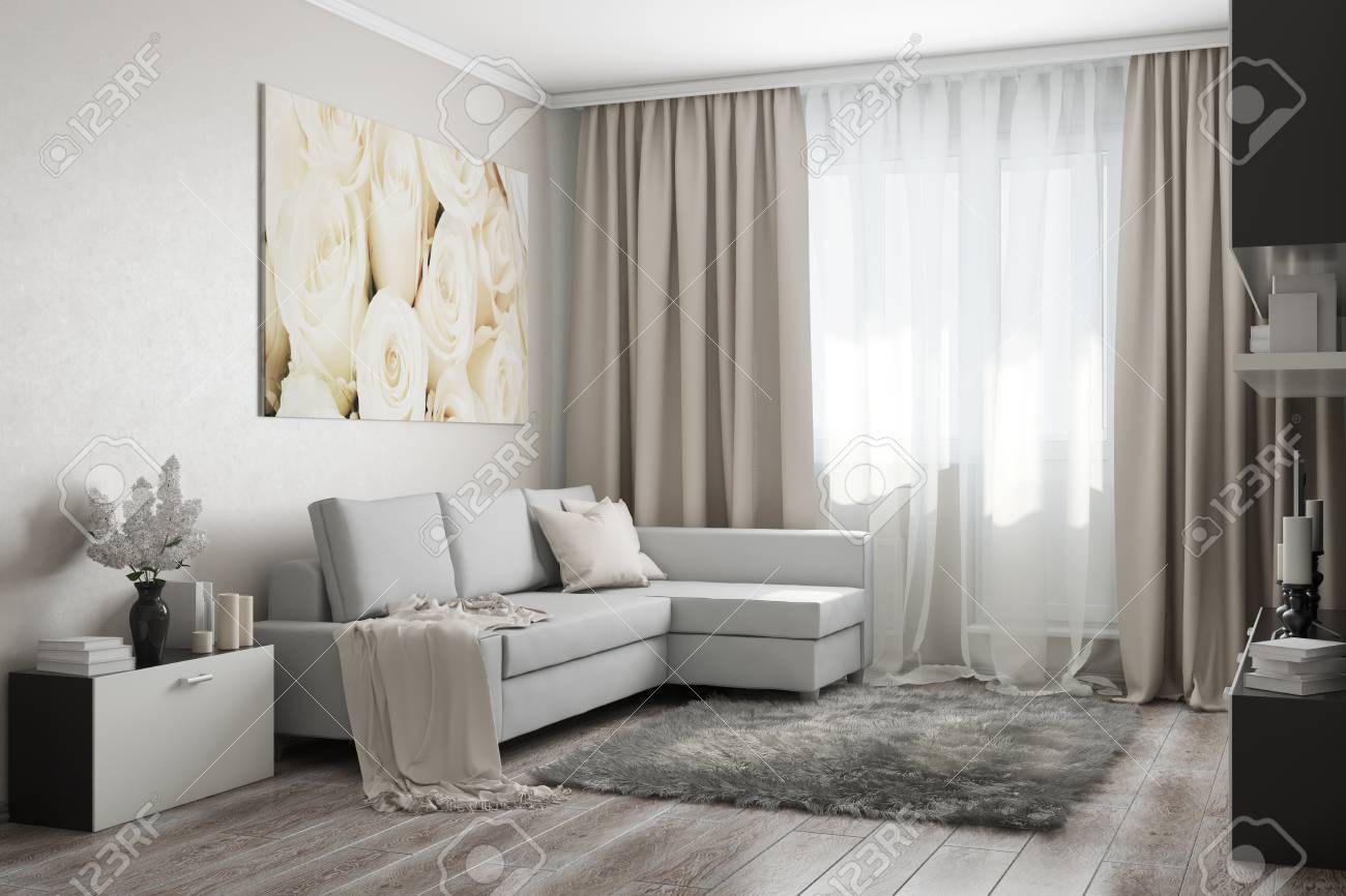 Modern Living Room In Light Tones With A Sofa, A Painting, Flowers ...
